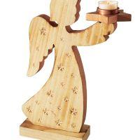 Teelichthalter-Figur Engel, Sterne-Prägung auf Vorderseite, Holz ca. L21 x B2,5/8,5 x H30 cm