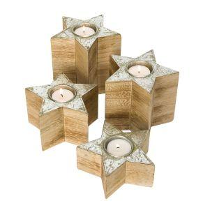 Dekorative Teelichthalter in vier unterschiedlichen Größen. Ideal geeignet für die Adventszeit, Oberseite mit Silberfolie verziert, Maße: ca. Höhe 5-13 x Ø 13 cm, Gewicht: ca. 0,9 kg, Material: MDF.<br>