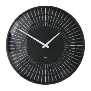 Diese Uhr ist mit einem sehr leisen Quarzuhrwerk, gleitenden Zeigern und vollverkleideter Rückwand ausgestattet. Das Uhrwerk ist geschützt, Maße: ca. Ø 36 x T6 cm, Material: mattiertem Kunststoff und Mineralglas.<br>