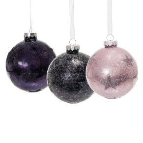 Effektvoller Weihnachtsbaumschmuck mit Sternen und Glitzerschnee. Mit Metallaufhängung, Maße: je ca. 8 cm Ø, Material: Glas.<br>