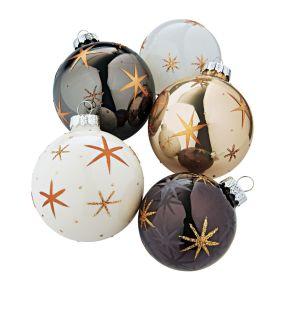 Eleganter Weihnachtsbaumschmuck in edlen Farbtönen. Mit Sternenmotiv, MetallAufhängung, Maße: je ca. Ø 7-8 cm, Material: Glas, Metall.<br>