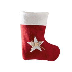 Toller Weichnachtsbeutel als Socke mit dekorativen Stern, Knopf und Jute Schleife lässt sich nach Belieben mit weihnachtlichen Kleinigkeiten befüllen. Ohne Füllung, Maße: ca. 20 x 16 x 0,8 cm, Material: 100% Polyester.<br>