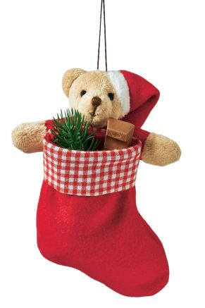 Der kleine, niedliche Teddy hält seinen Weihnachtsstrumpf fest in seinen Armen und freut sich auf die Befüllung. Maße: ca. 10 x 16 cm, Material: 100% Polyester.<br>
