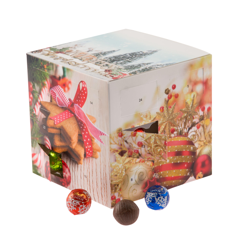 Lindor Weihnachtskalender.Adventskalender Würfel 24 Mini Lindor Kügelchen 5 Geschmacksrichtungen
