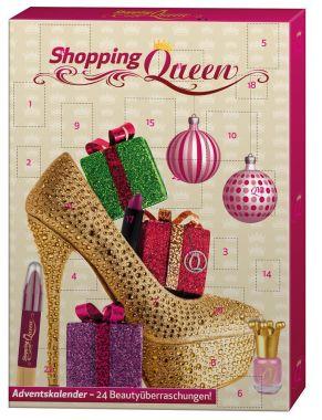 """""""Shopping Queen-""""""""Beauty Kalender"""""""" gefüllt mit verschiedenen Kosmetik-und Wellnessartikeln wie z.B. Nagellack, Rouge, Puder, Lipgloss und Mascara."""""""