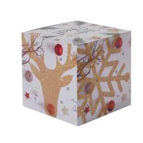 """Gefüllter Adventskalender in Würfelform mit weihnachtlichem Motiv. Füllung: 24 hochfeine Schokoladenkügelchen aus dem Hause Lindt & Sprüngli, 5 verschiedene Geschmacksrichtungen, Maße: ca. B10 x T10 x H10 cm. Zutaten: Zucker, KAKAOBUTTER, pflanzliche  [box] <a href=""""https://amzn.to/31r9Dyc"""" target=""""_blank"""" rel=""""nofollow noopener noreferrer"""">Weihnachtskalender: große Auswahl an Adventskalendern für die Happy Hour in der Adventszeit</a> [/box]"""