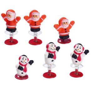 Die kleinen Weihnachtsmänner & Schneemänner wackeln und springen. Jeweils 25 Stück, mit selbstauslösendem Sprungmechanismus, Maße: ca. 5,5 x 2,5 cm, Gewicht: ca. 0,3 kg.