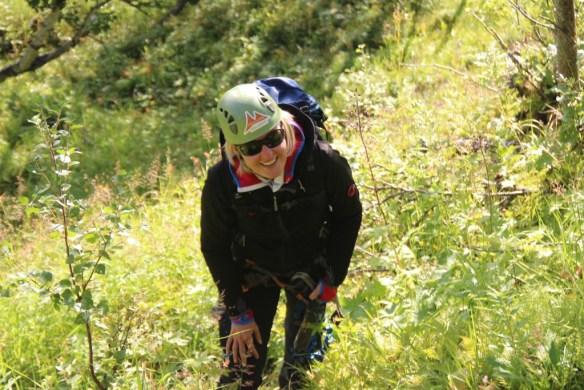 Sandra im Anstieg zum Klettersteig Hemsedal. www.einfachmalraus.net