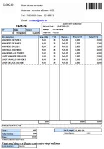 Impression facture du logiciel caisse enregistreuse