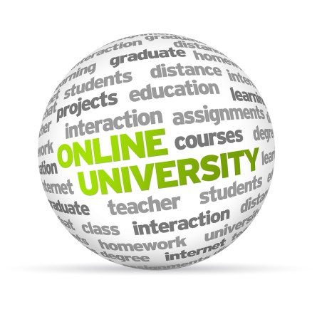 3d Online University Word Sphere on white background.
