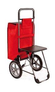 Einkaufstrolley Relax mit Sitz Einkaufshilfe mit Sitz ausgeklappt