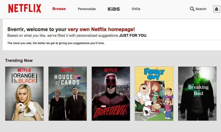 Netflix - heimasíða