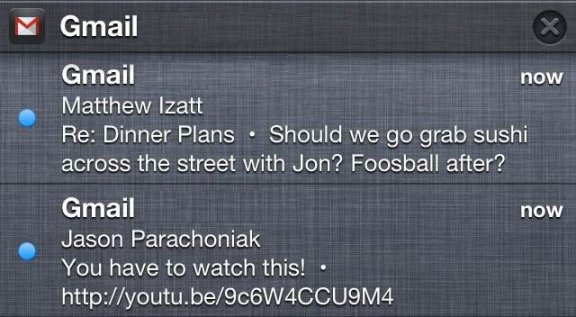 Gmail iOS - Notification Center