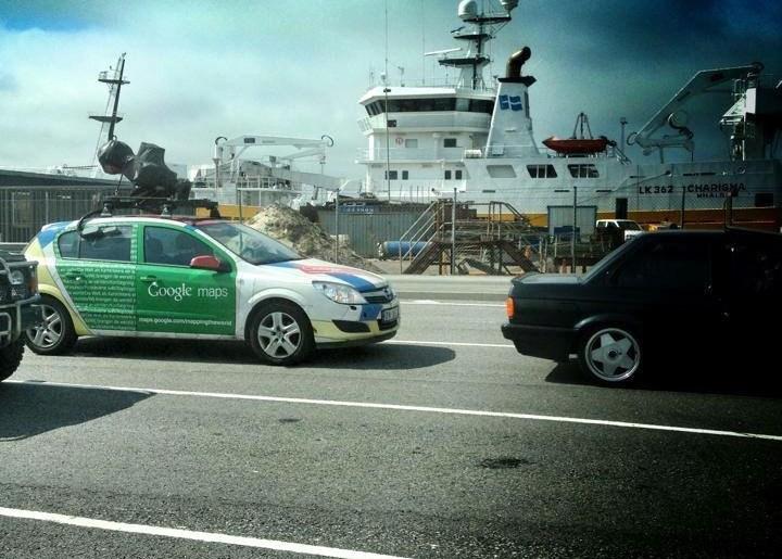 Google Street View bifreið á bílaþilfari Norrænu