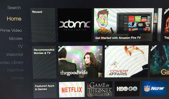 Amazon Fire TV - XMBC Installed