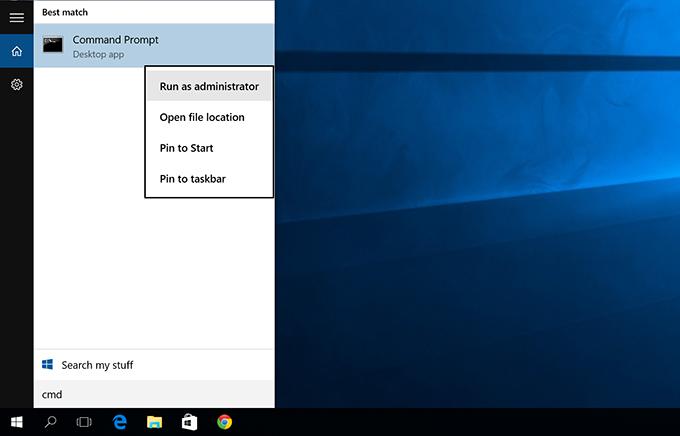 Windows 10 - Cmd - Run as Administrator