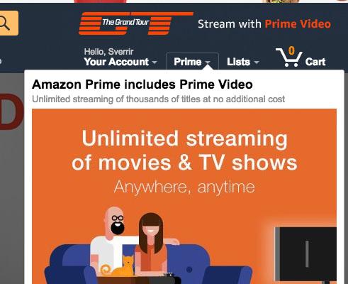 Amazon Prime - vefsíða