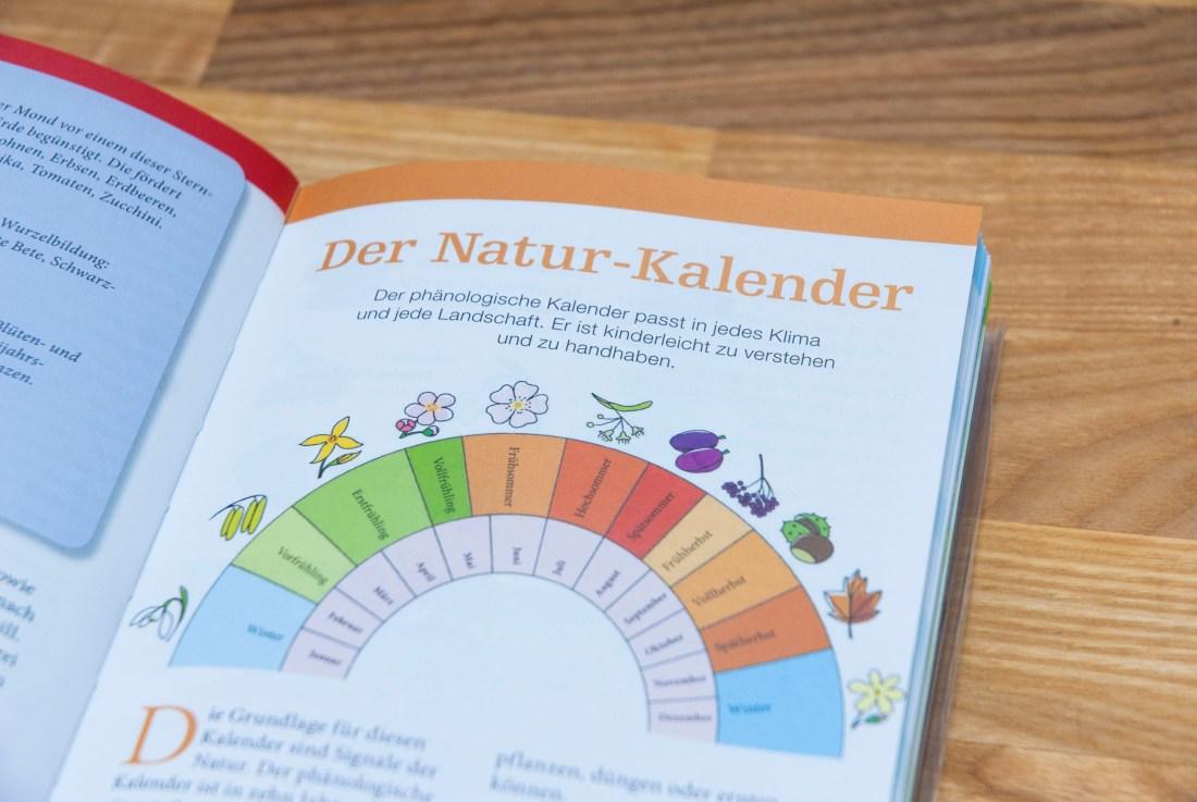 Blick in das Jahreszeiten-Gartenbuch der Kraut & Rüben mit Überblick über den phänologischen Kalender.
