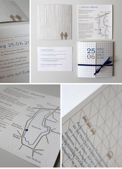 Das Einladungskarten Set Besteht Aus Einer Einladung Im Altarfalz, Einer  Quadratischen Zusatzkarte Für Den Abend Mit Anfahrtsskizze Auf Der  Rückseite Und ...