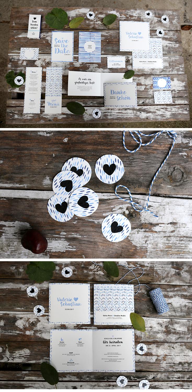Hochzeitspapeterie, Herzlichst, Hochzeitseinladung, Batik