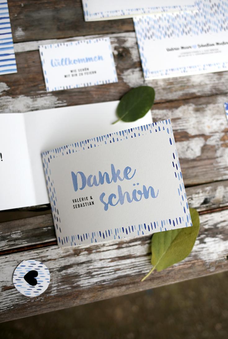 Hochzeitspapeterie, Herzlichst, Dankeskarte, Batik