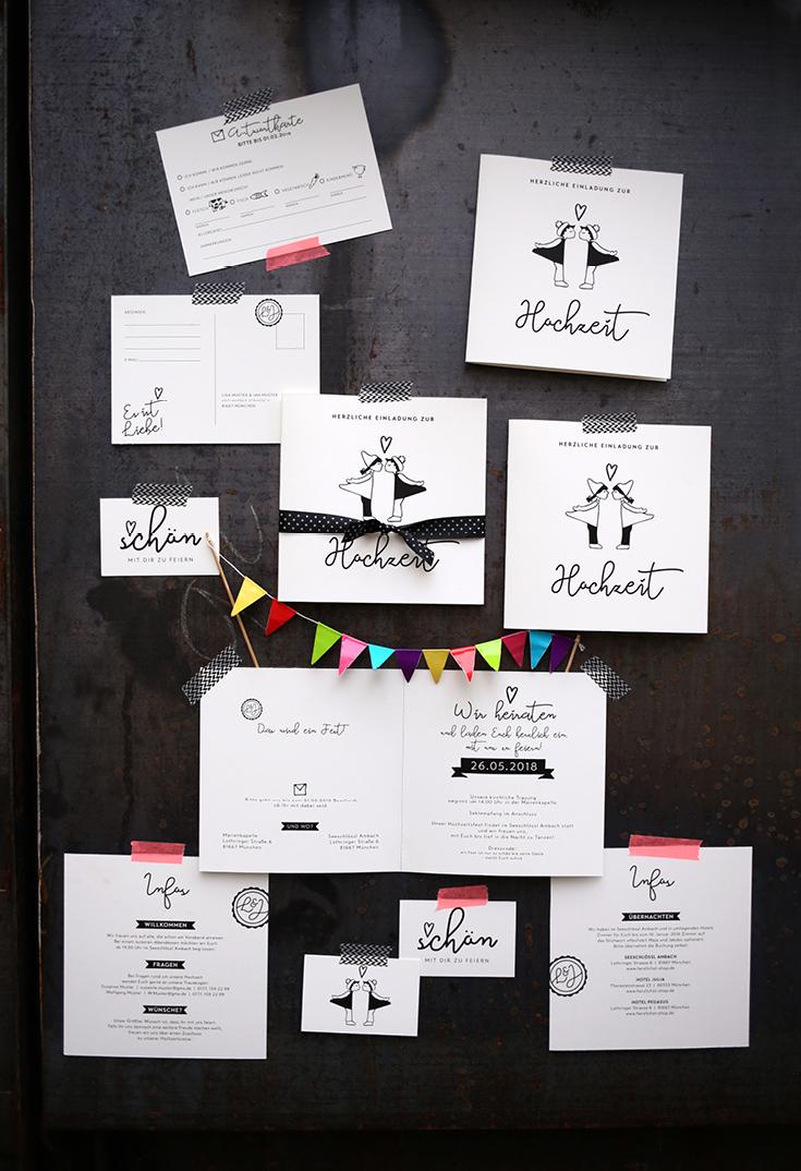 Hochzeitspapeterie, Sketchnotes, Kissing Dolls, Kussmännchen, Scribble, Black & White, #ehefueralle