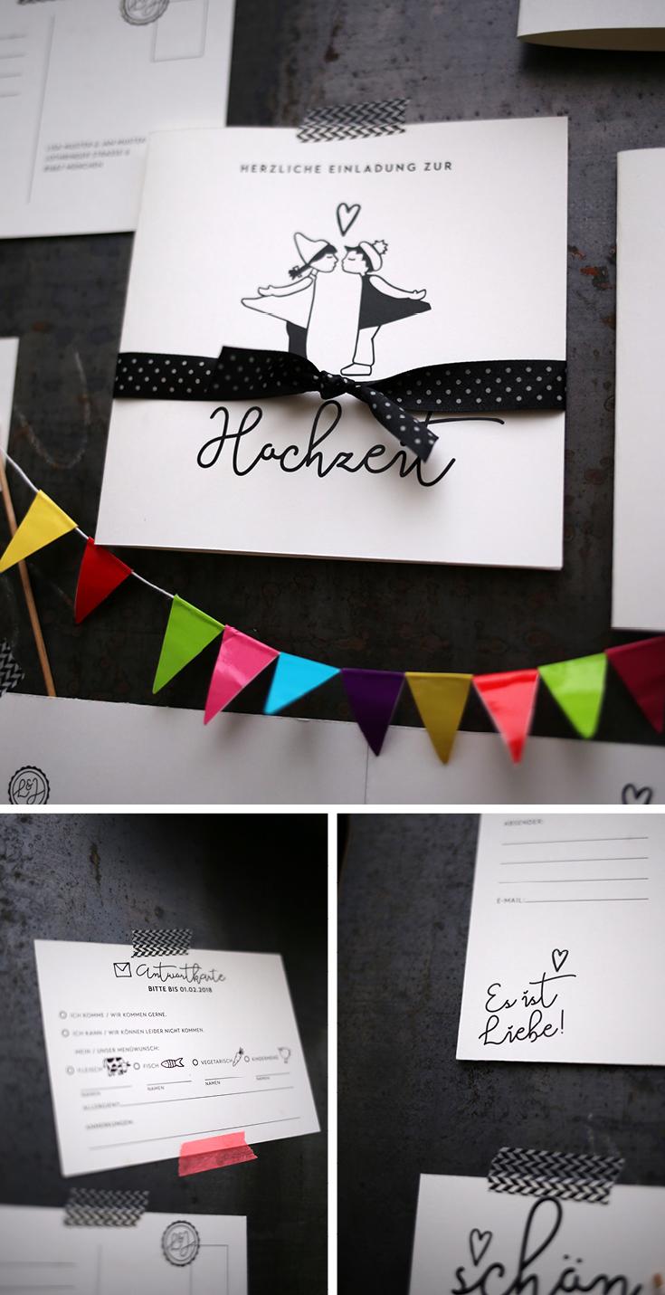 Hochzeitseinladung, Design Hochzeit, Wimpel, Ehe für alle, Kissing Dolls
