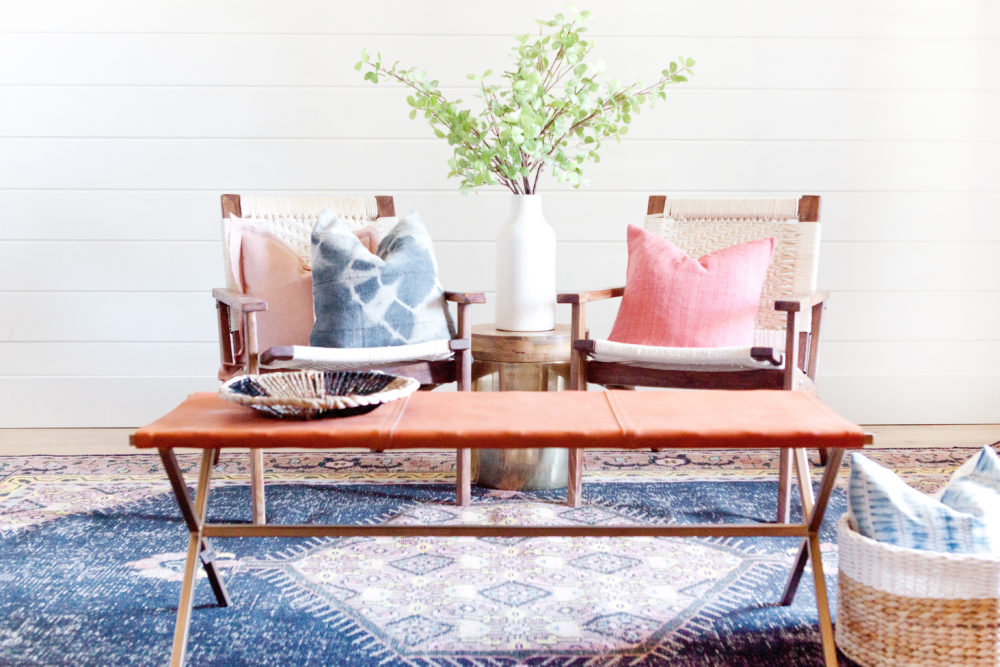 Boho pillows styled in a bohemian inspired sitting area