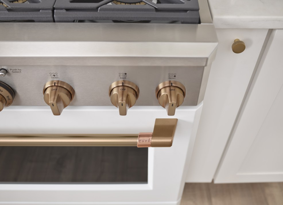 GE CAFE APPLIANCES featured by top US interior design blog E. INTERIORS; Image of a kitchen.