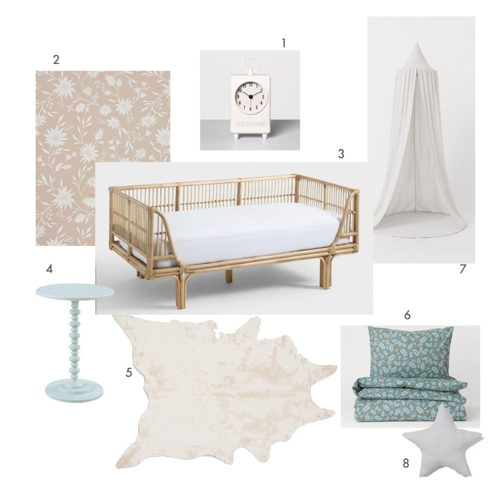 Dreamy Girls Bedroom Under $1,200 by popular design blog, E. Interiors: collage image of Target Hearth & Hand with Magnolia Kids Alarm Clock, Lulu & Georgia RYLEE + CRU FLORAL WALLPAPER, World Market Honey Rattan Daybed, Joss & Main Mako End Table, Lulu and Georgia BRIGHTON FAUX COWHIDE RUG, BEIGE, H & M Patterned Duvet Cover Set, H & M Linen Reading Nook, and Amazon Kiven Iron Art Belt Wall Lamp UL Certification Plug-in Button Cord Lighting Round Bucket Loft Style Wall Lamp.