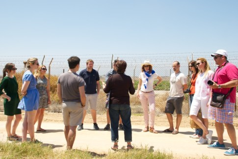 Briefing by a member of the Nahal Oz Kibbutz, 2 Km away from the Gaza Strip.