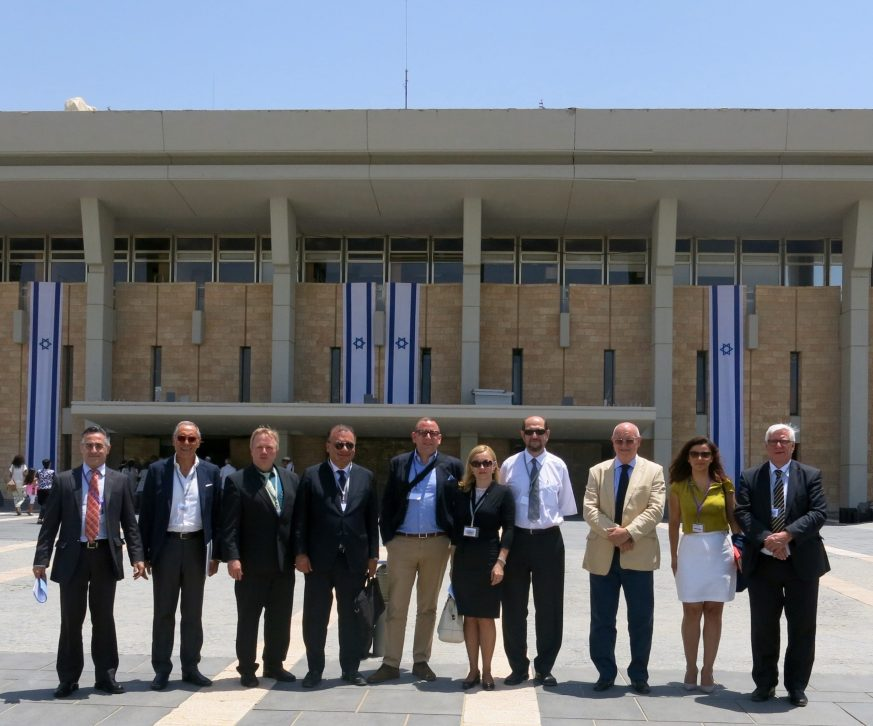 From left to right: MEP Ramon Tremosa I Balcells, Francesco Paolo Iannuzzi, MEP Arne Gericke, MEP Fulvio Martusciello, Alex Benjamin, MEP Marijana Petir, MEP Boris Zala, VP Ioan Mircea Pascu, Teodroa Coptil, MEP Bas Belder