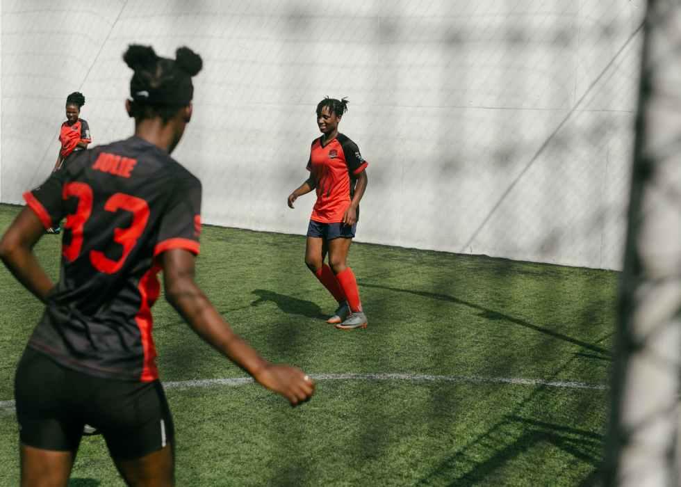 junior women soccer team during game