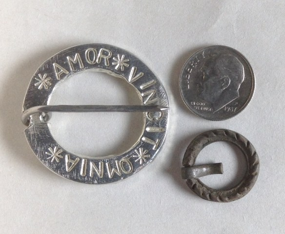 One of my pewter brooches, a dime, and the tiny brooch that I bought.