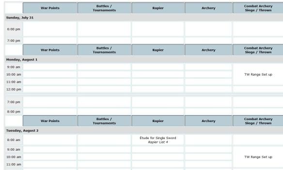 Pennsic Schedule