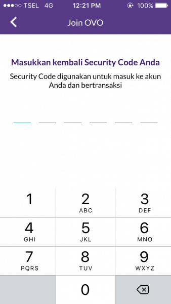 Buat PIN Security Code OVO