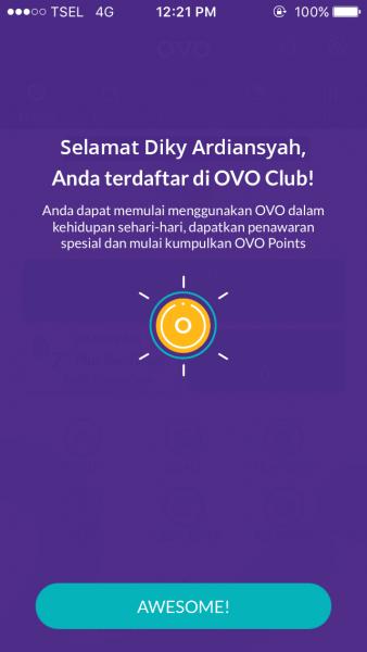 Berhasil pendaftaran OVO