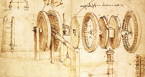 Leonardo DaVinci's toothed gears. DaVinci was also a painter, architect, mathematician...