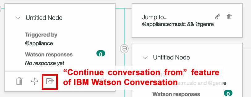 Continue conversation button from in IBM Watson Conversation