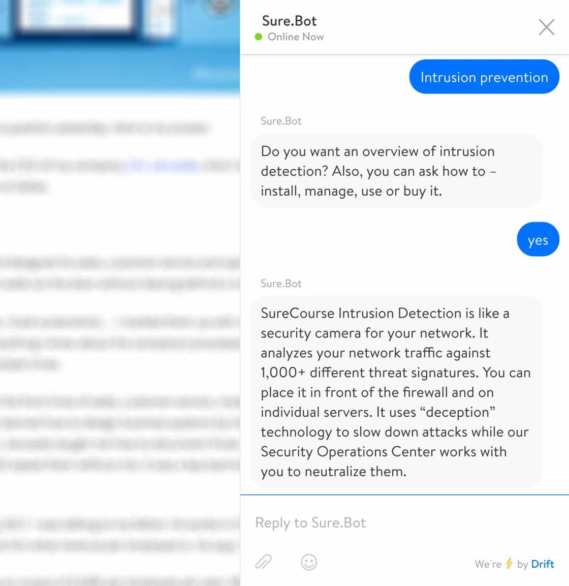 Screenshot. Chatbot introduces a business problem.