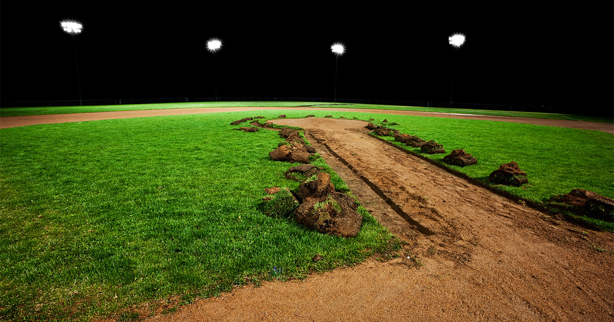 Baseball field at night being built