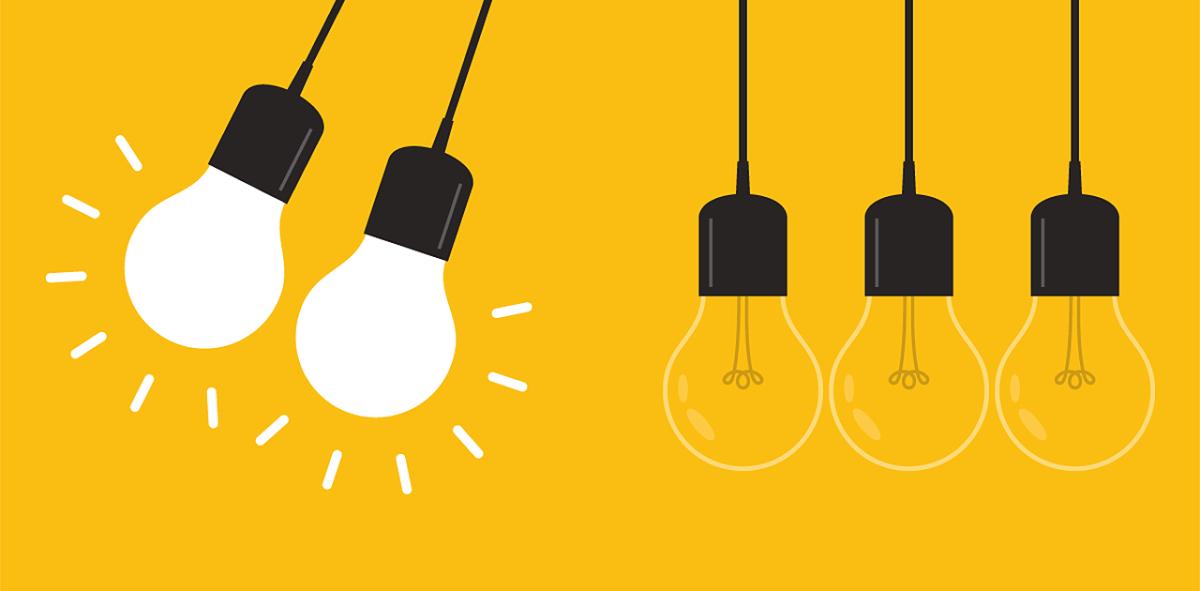 Illustration: 2 bright light bulbs swinging on the left. 3 regular bulbs hanging straight down
