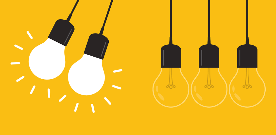 Illustration: 2 bright light bulbs swinging on the left. 3 regular bulbs hanging straight down