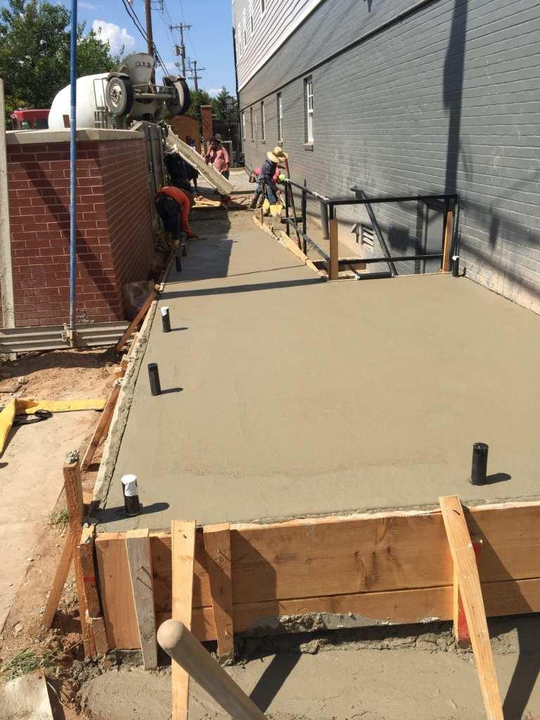Concrete handicap ramp.