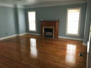 Re-finished wood flooring in a 1930s home.