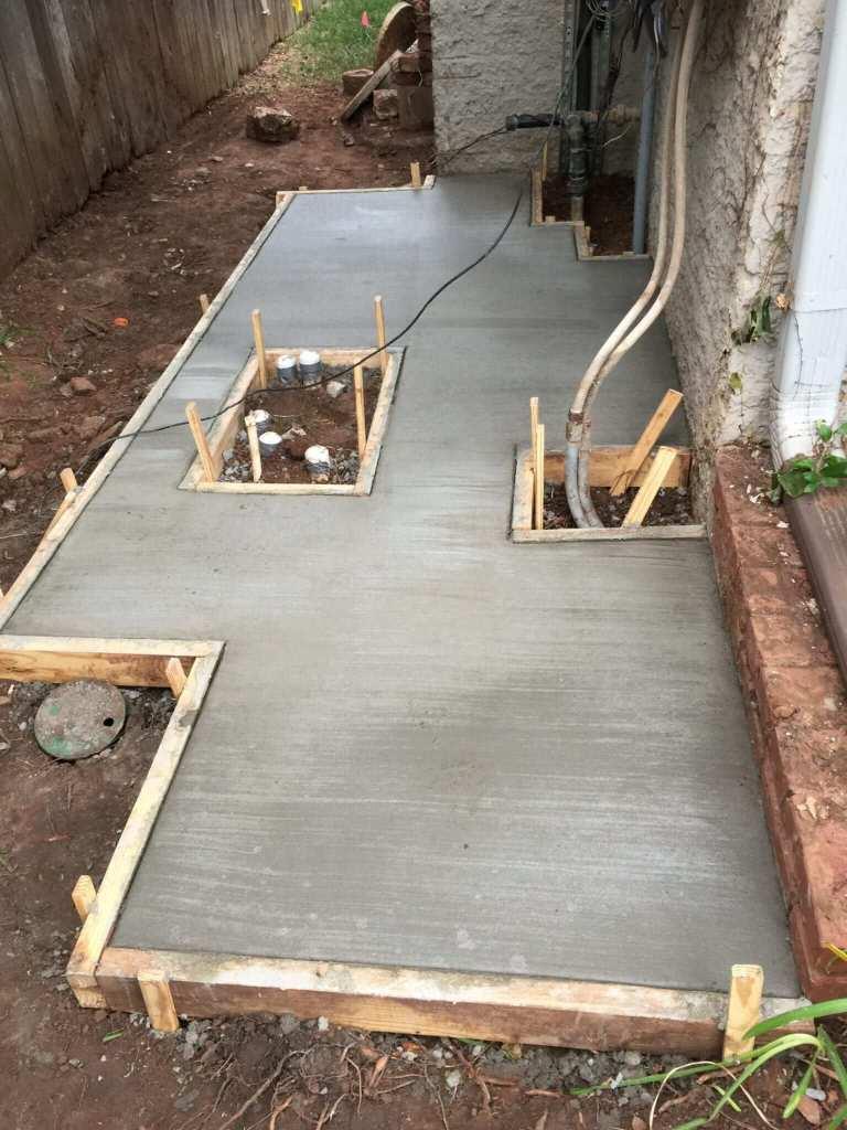 Installation of new pool equipment pad.