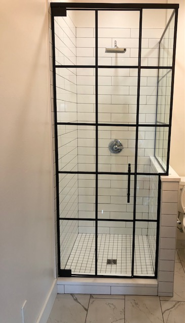 Custom shower door on new construction