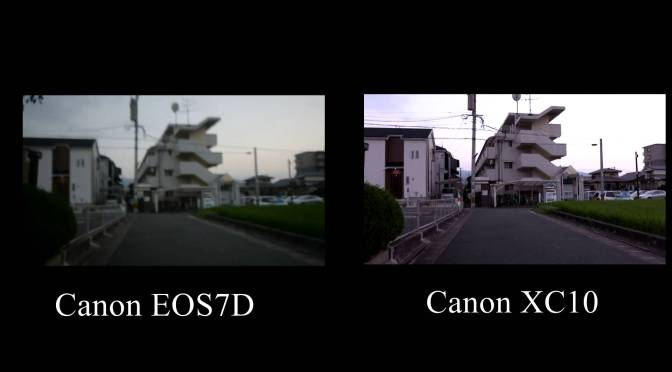 Canon EOS7D VS Canon XC10の手ぶれ補正対決を行いました。