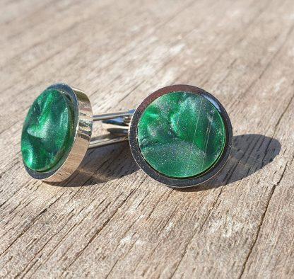 Dark Green, Marbled Acrylic, Rhodium Plated Cufflinks
