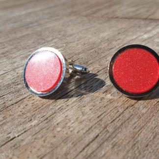 Pomegranate, Marbled Acrylic, Rhodium Plated Cufflinks